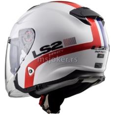 Kaciga LS2 Jet OF521 INFINITY SMART  belo crvena sa naočarima L