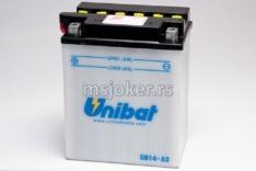 Akumulator UNIBAT 12V 14Ah sa kiselinom CB14-A2=B2 levi plus (134x89x166) 190A