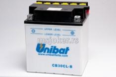 Akumulator UNIBAT 12V 30Ah sa kiselinom CB30-CL-B-SM desni plus (168x132x192) 300A