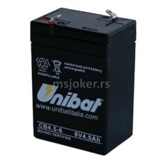 Akumulator UNIBAT 6V 4.5 SLA ( 70x47x106 )