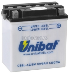 Akumulator UNIBAT 12V 9Ah sa kiselinom CB9L-A2SM desni plus (135x75x139) 124A