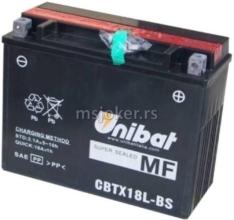 Akumulator UNIBAT 12V 21Ah gel CBTX18L-BS desni plus (205x87x162) 280A
